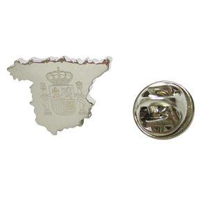 Spain Map Shape and Flag Design Lapel Pin